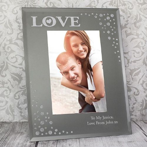 Personalised LOVE Diamante 6x4 Glass Photo Frame